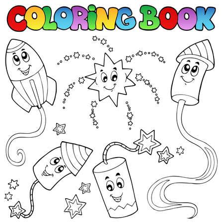 petardo: Libro para colorear tema fuegos artificiales 2 - ilustraci�n vectorial. Vectores