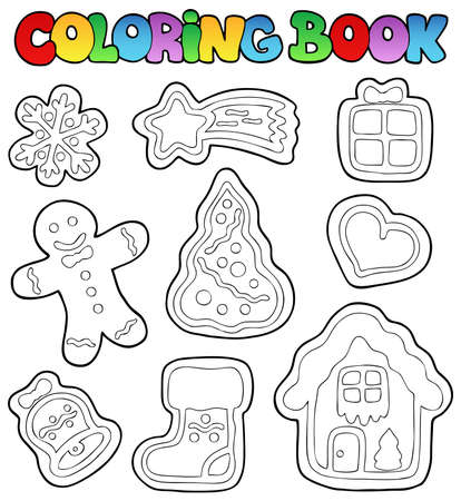 gingerbread cookie: Coloring book gingerbread 1 - vector illustration. Illustration