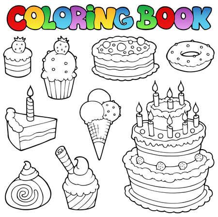 pasteles de cumpleaños: Libro para colorear varias tortas 1 - ilustración vectorial.