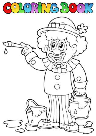 cartoon painter: Coloring book with cheerful clown 2 - vector illustration. Illustration