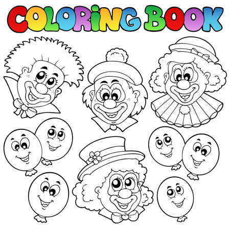 Coloring book with funny clowns - vector illustration. Vector