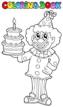 libro caricatura: Libro para colorear con feliz payaso 3 - ilustración vectorial.