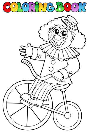 Coloring book with happy clown 4 - vector illustration. Vector