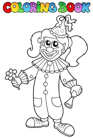 Coloring book with happy clown 5 - vector illustration. Vector