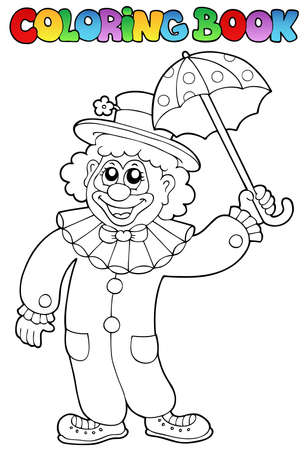 Coloring book with happy clown 6 - vector illustration. Vector