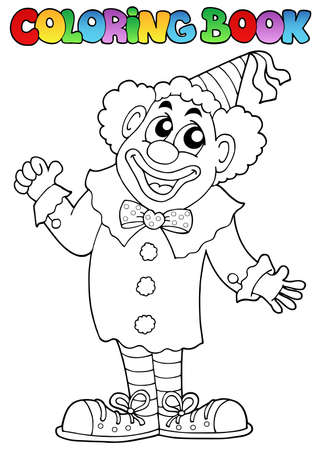 Coloring book with happy clown 7 - vector illustration. Vector