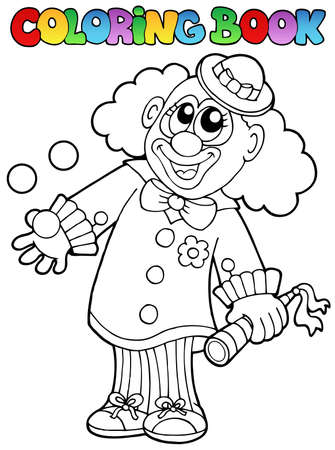 comedy show: Coloring book with happy clown 8 - vector illustration.