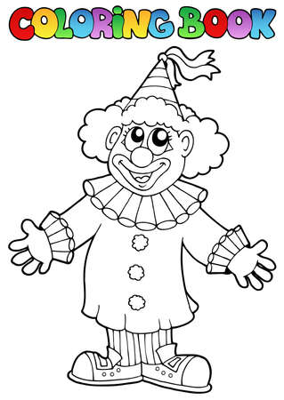 Coloring book with happy clown 9 - vector illustration. Vector