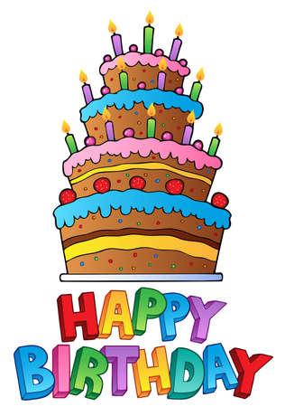 torta panna: Buon Compleanno topic immagine 2 - illustrazione vettoriale.