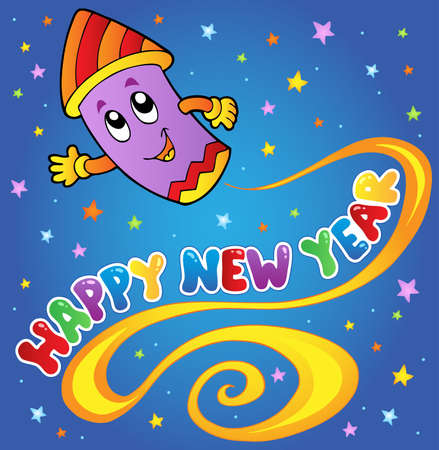 firecracker: Happy New Year theme 1 - vector illustration.