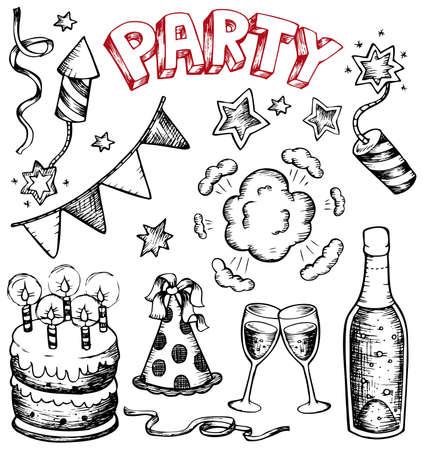 trekken: Partij tekeningen collectie 1 - vector afbeelding. Stock Illustratie