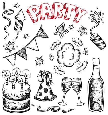 cartoon party: Party drawings collection 1 - vector illustration. Illustration