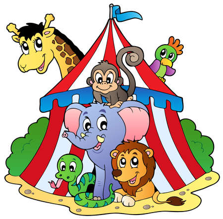 entertainment tent: Various animals in circus tent - vector illustration.