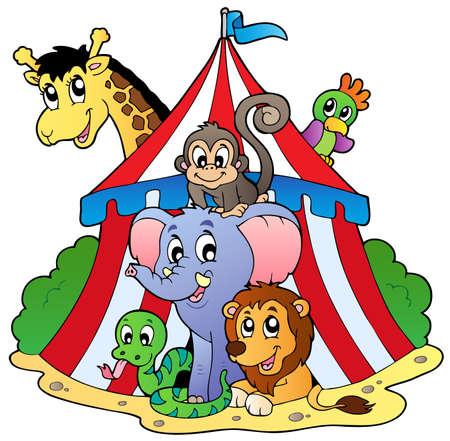 Verschillende dieren in circus tent - vector afbeelding.