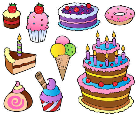 art piece: Various cakes collection 1 - vector illustration.