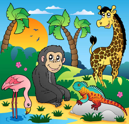 African scenery with animals 5 - vector illustration. 向量圖像