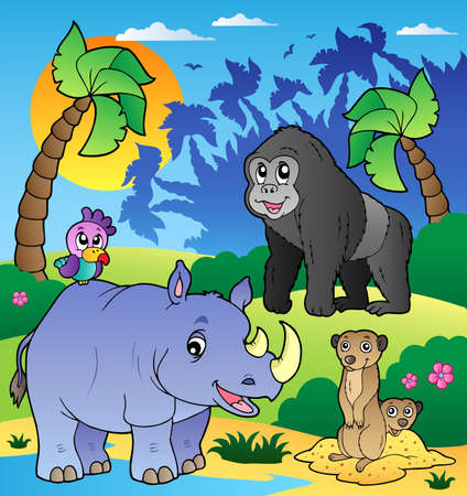 rhinoceros: African scenery with animals 6 - vector illustration. Illustration