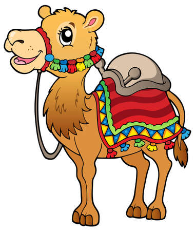 camels: Cartoon camel with saddlery - vector illustration. Illustration