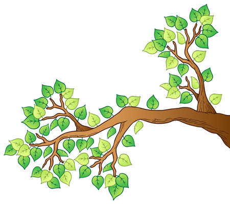 growing tree: Cartoon tree branch with leaves 1 - vector illustration.