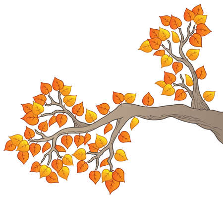 growing tree: Cartoon tree branch with leaves 2 - vector illustration.