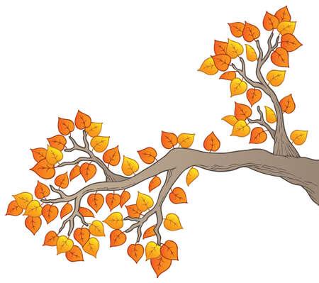 arboles frondosos: Dibujos animados rama de �rbol con hojas 2 - ilustraci�n vectorial.