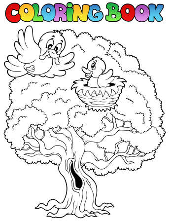 Coloring book big tree with birds - vector illustration. Vector