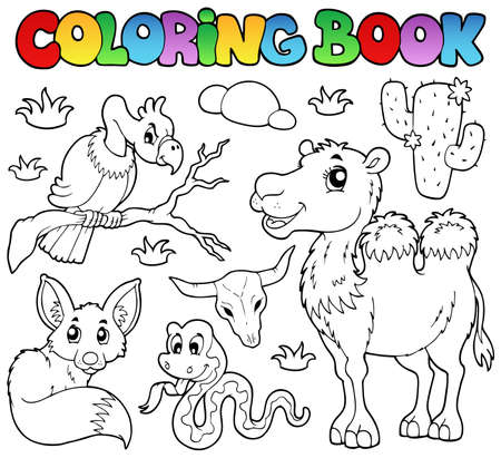 birds desert: Coloring book desert animals 1 - vector illustration. Illustration