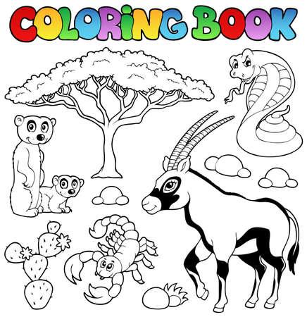 Colorear Animales Del Desierto Un Libro   Ilustración Vectorial
