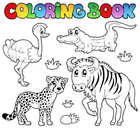 cocodrilos: Libro para colorear animales de la sabana 2 - ilustraci�n vectorial.