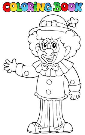 Coloring book with cheerful clown 3 - vector illustration. Vector