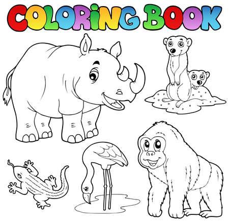 gorila: Colorear animales zoológico libro set 1 - ilustración vectorial.