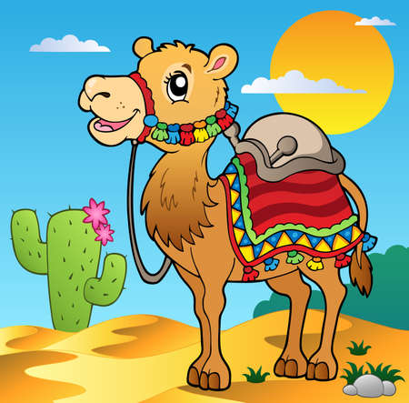 camello: Desierto escena con camellos - ilustración vectorial.