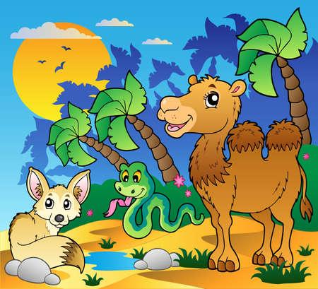 animales del desierto: Desierto escena con varios animales 1 - ilustración vectorial.