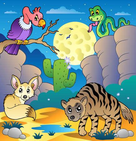 animales del desierto: Desierto escena con varios animales 2 - ilustración vectorial.