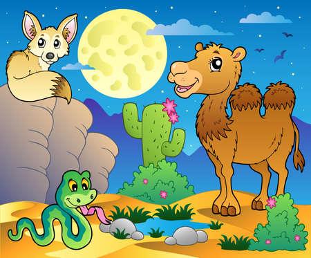 animales del desierto: Desierto escena con varios animales 3 - ilustración vectorial. Vectores