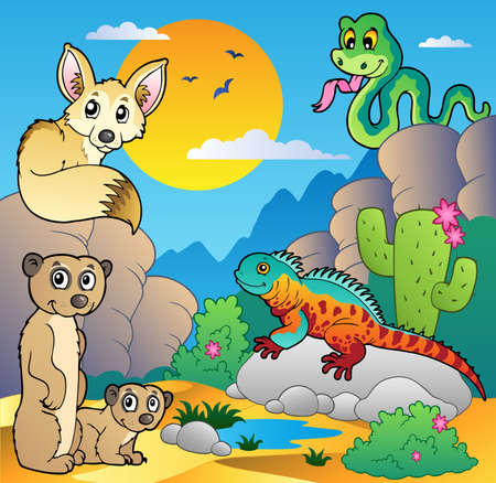 animales del desierto: Desierto escena con varios animales 4 - ilustración vectorial.