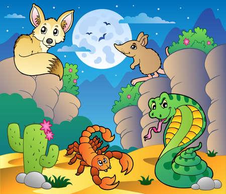 animales del desierto: Desierto escena con varios animales 5 - ilustración vectorial.