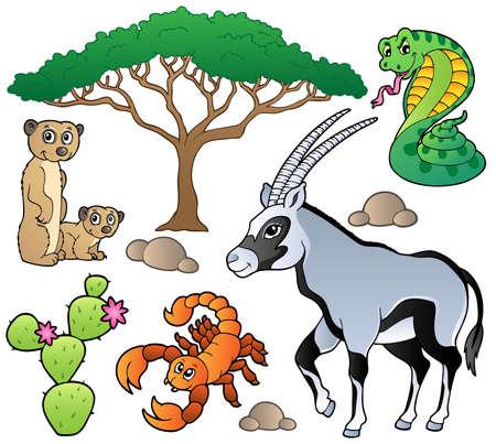 biodiversity: Savannah animals collection 1 - vector illustration.