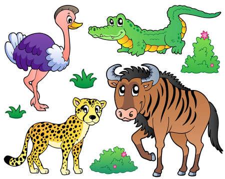 avestruz: Savannah animales de recogida 2 - ilustración vectorial.