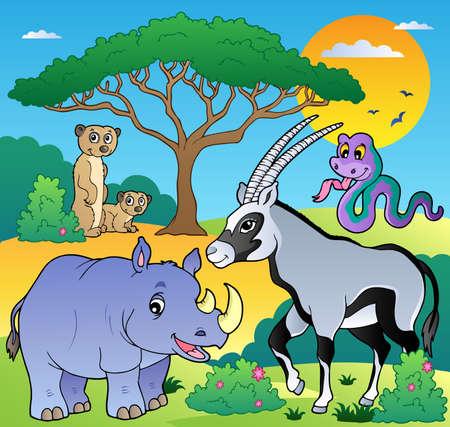 Savannah scenery with animals 1 - vector illustration.
