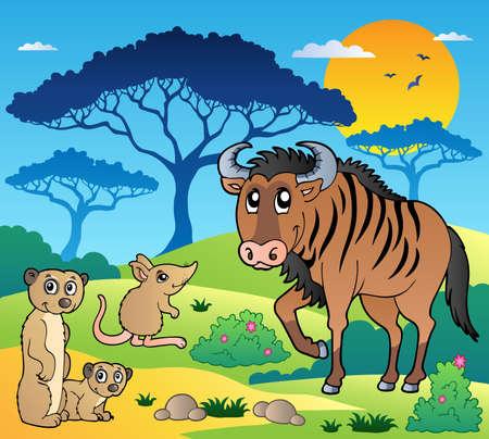 Savannah landschap met dieren 3 - vector illustratie.