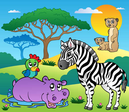 Savannah scenery with animals 4 - vector illustration. Vector
