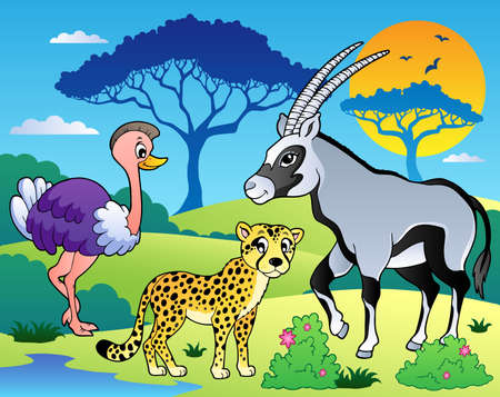 savanna: Savannah scenery with animals 7 - vector illustration. Illustration
