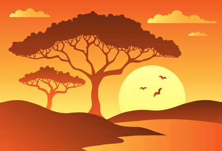 Savannah scenery with trees 1 - vector illustration. Vector