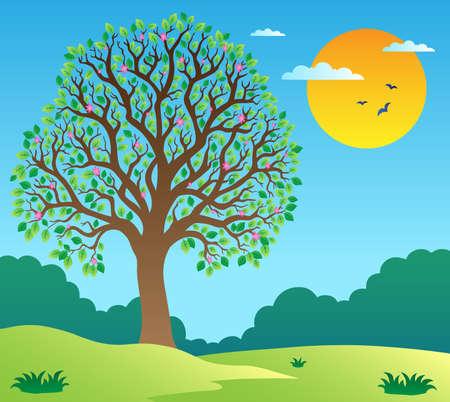 arboles frondosos: Paisaje con árbol frondoso 1 - ilustración vectorial. Vectores
