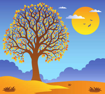 Scenery with leafy tree 2 - vector illustration. Stock Vector - 11918029