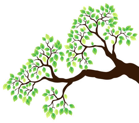 leafy: Tree branch with green leaves 1 - vector illustration.