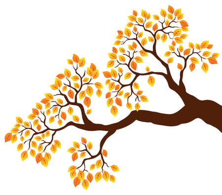 branch tree: Tree branch with orange leaves 1 - vector illustration.