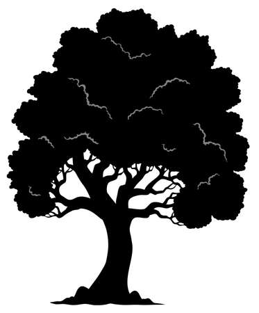 tall tree: Tree shaped silhouette 1 - vector illustration. Illustration