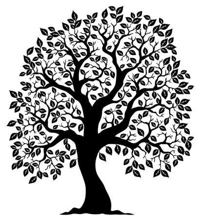 dessin au trait: Tree silhouette en forme de 3 - illustration vectorielle. Illustration